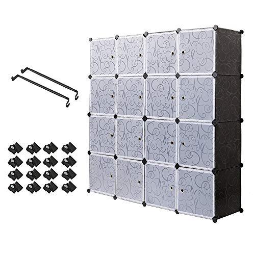 PONCTUEL ESCARGOT Interlocking Plastic Wardrobe Cabinet Storage for Clothes Translucent Decorative Patterns, Elegant Black & White (12 Cube)