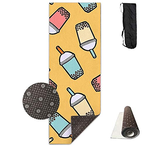 Yoga Mat with Carrying Bag Bubble Tea Cup Fitness High Density Anti-Tear Exercise Gym Mat for Exercise,Pilates 70.9