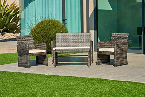 SUNCROWN Outdoor Conversation Set 4-Piece Grey Wicker Sectional Patio Furniture with Glass Top Table All-Weather Sofa   Thick, Durable Cushions with Washable Covers   Porch, Backyard, Pool or Garden