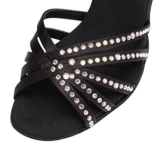 CRC Womens Stylish Open Toe Sparkle Rhinestone Satin Ballroom Morden Tango Party Wedding Professional Dance Shoes Black SQ0nz86NJx