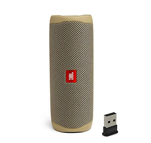 JBL Flip 5 Waterproof Portable Wireless Bluetooth Speaker Bundle with USB 2.0 Bluetooth Adapter - Sand