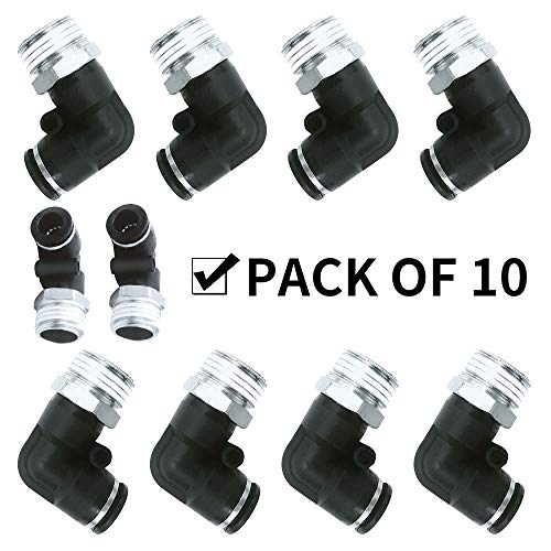 """Beduan BPL Push to Connect Air Fittings Male Elbow 6mm Tube OD x 1/8"""" NPT Thread (Pack of 10)"""