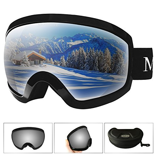 MOTOEYE Ski Goggles - Over Glasses Design Snow / Snowboard Goggle for Men,Women & Youth ( 100% UV Protection + Long-time Anti-fog + Mirrored ) - Goggles Bicycling