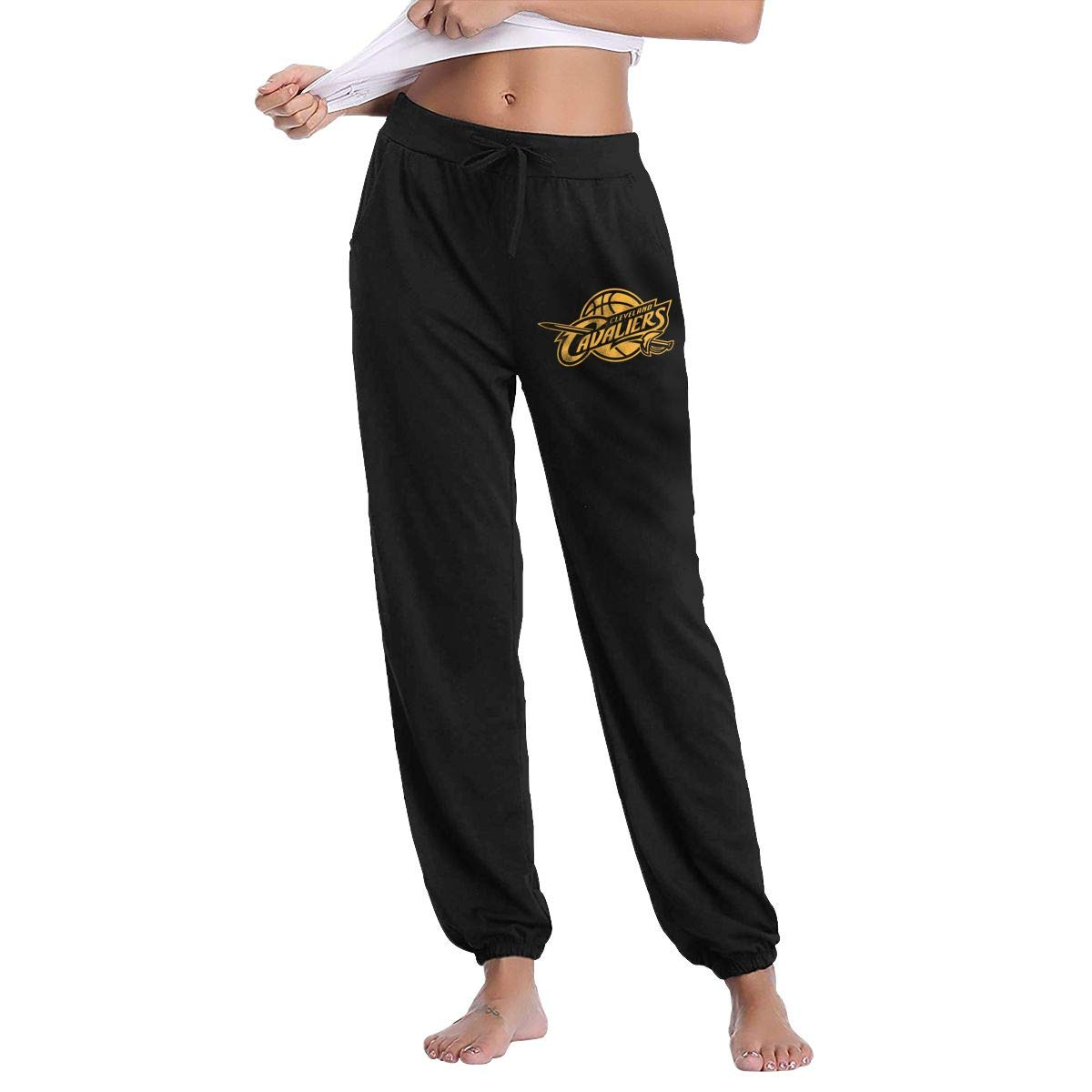 Black XXL GavDon Women's ClevelandCavaliersWineOutlineContrast Casual Sweatpants Yoga Jogger Lounge Sweat Pants with Pockets