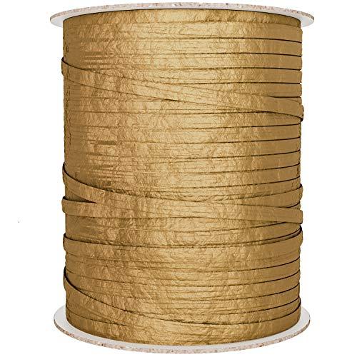 Gold Ribbon   BonBon Paper Natural Paper Raffia Ribbon in Metallic Gold (Ribbon Paper)