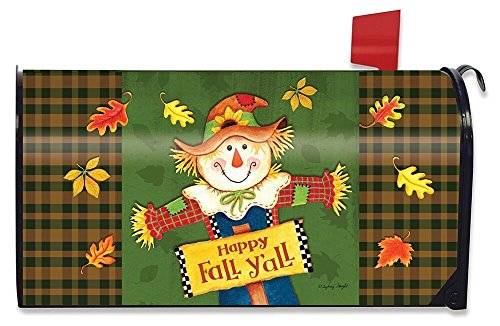 Briarwood Lane Fall Y'all Scarecrow Primitive Magnetic Mailbox Cover Autumn Leaves Standard by Briarwood Lane