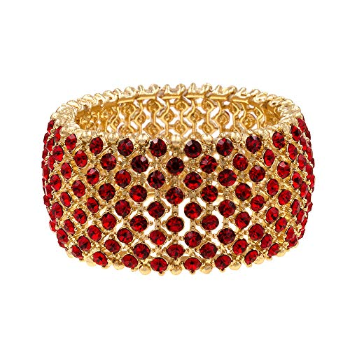 (Lavencious Tennis Rhinestone Stretch Bracelets Bridal Evening Party Jewelry for Woman Bangle (Gold - Red))
