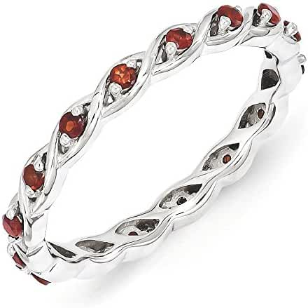 2.5mm Rhodium Plated Sterling Silver Stackable Garnet Twist Band