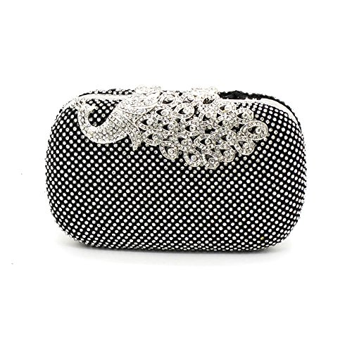 (Kingluck Rhinestone Women Polyester/Metal Minaudiere Clutch/Evening Bag(in More Color) (black))