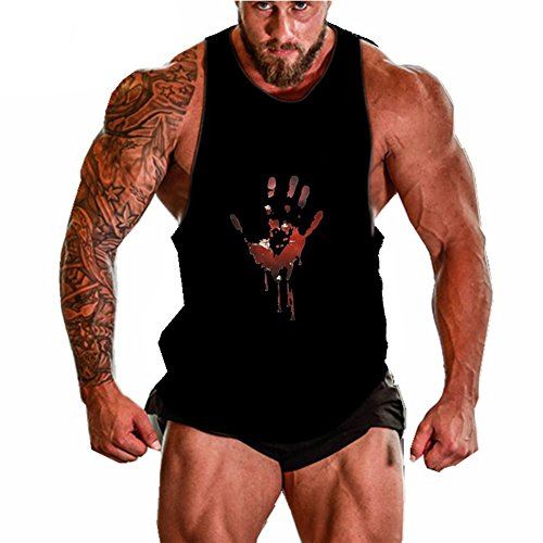 Higym Mens Tank Top Palm Print Stringer Bodybuilding Gym Vest T-shirt,Black,X-Large (Tank String Poly)