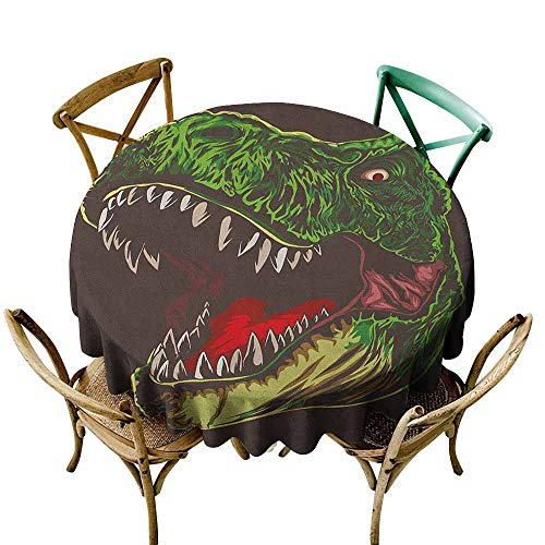 Sunnyhome Spillproof Tablecloth Dinosaur Aggressive Wild T Rex Head Colorful Hand Drawn Style Jurassic Period Dark Brown Fern Green Modern Minimalist 40 INCH