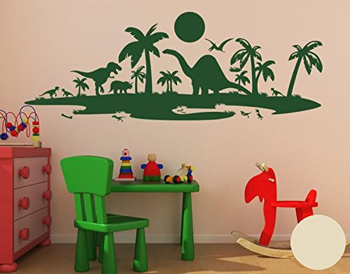 Klebefieber Wandtattoo Dinolandschaft B x H    100cm x 37cm Farbe  dunkelgrün B072F3Y6VZ Wandtattoos & Wandbilder 3788e6