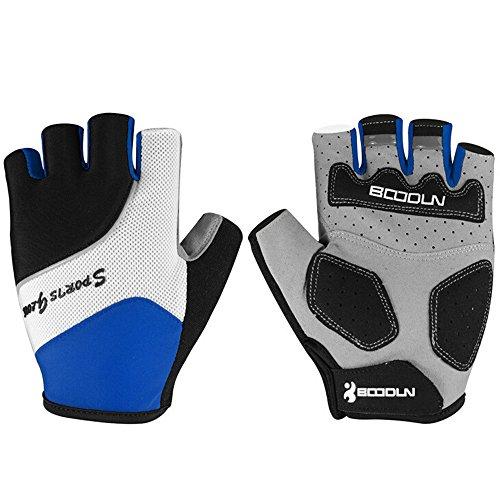 Ezyoutdoor Unisex Breathable Half Finger Glove Shock-Absorbing Gel Pad Mountain Bicycle Bike Road Racing Gloves (Blue, Medium)