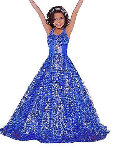Gzcdress Shining Girl Dresses Long Sequins Pageant Girls Dresses Wedding Flower Toddler Gown 16
