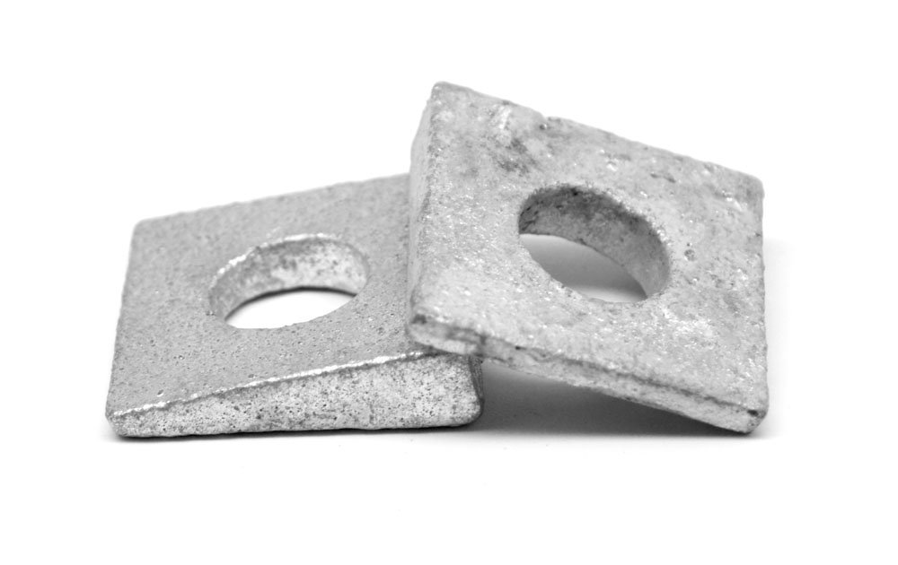 5/8'' Square Beveled Malleable Washer Malleable Iron Hot Dip Galvanized Pk 25