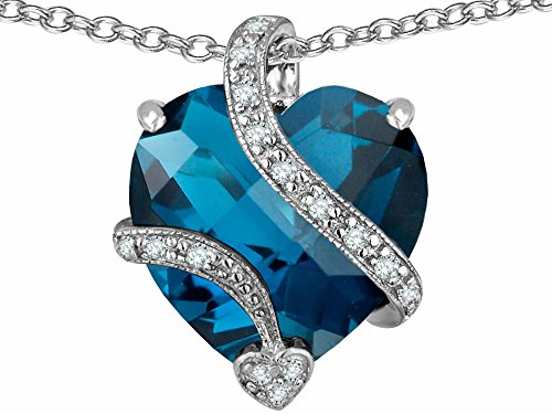 Star K Large 15mm Heart Shape Simulated Blue Topaz Love Pendant Necklace Sterling Silver (Spinel Heart)