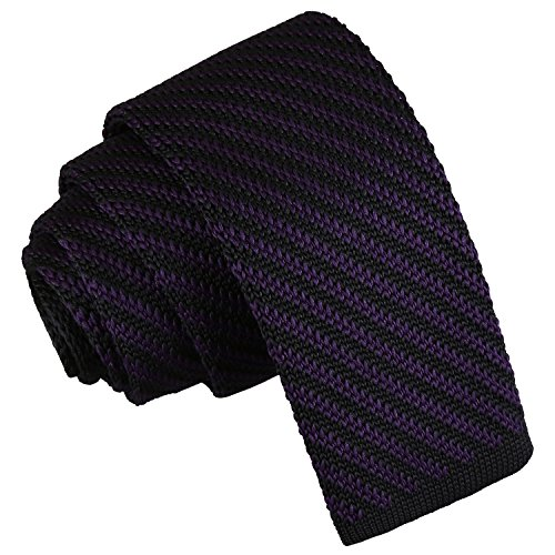 Knitted Stripe Men Skinny Knit Tie Diagonal and Purple DQT Casual Black E1wxOnX1q
