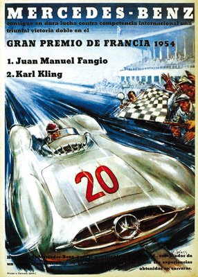 Mercedes Benz Auto Racing Promotion Vintage Poster (24x36 Collectible Giclee Gallery Print, Wall Decor Travel Poster)