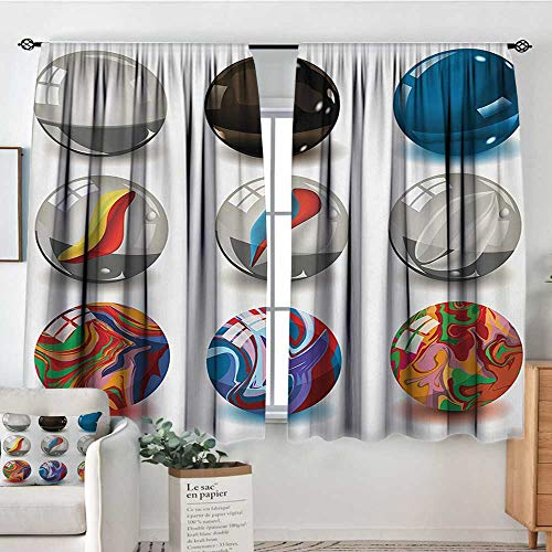 Pearls Window Curtain Drape Collection of Different Marbles with Glass and Porcelain Materials Like Bubbles Artwork Door Curtain Blackout 55