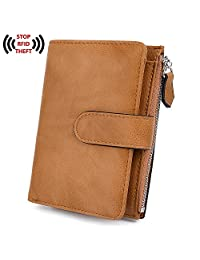 UTO RFID Wallet for Women PU Leather Blocking Tech 15 Card Holder Organizer Zipper Coin Pocket Purse Snap Closure
