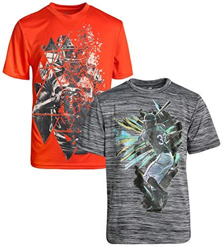 Energy Zone Boy's Dri-Fit Performance Active Graphic T-Shirts (2-Pack) Heather Grey/Orange, Size X-Large - 14/16'