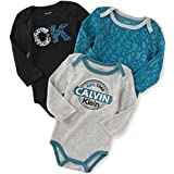 Calvin Klein Baby Boys' Assorted Long Sleeve Bodysuit, Black/Gray, 6-9 Months (Pack of 3)