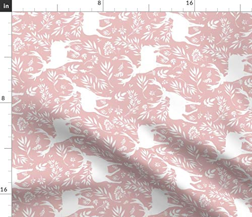 Spoonflower Floral Fabric - Floral Woodland Pink Floral Forest Damask Deer Woodland Baby Girl Toile by Shopcabin Printed on Linen Cotton Canvas Ultra Fabric by The Yard