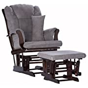 Stork Craft Tuscany Custom Glider and Ottoman with Free Lumbar Pillow, Espresso/Grey