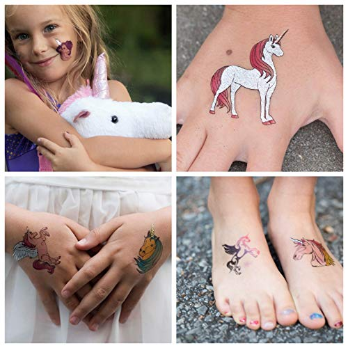 John & Judy 24 Unicorn Temporary Tattoos for Girls | Individually Wrapped Metallic Tattoos | for Unicorn Party Supplies | Goody Bags and Games | Party Favors and Princess Birthdays