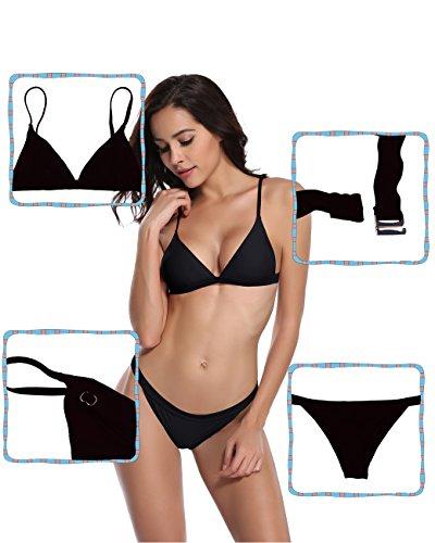 SHEKINI Traje de baño acolchado de dos piezas triángulo conjunto de bikini brasileño trajes de baño para las mujeres Negro