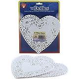 Hygloss 91061 100-Piece Heart Doilies, 6-Inch, White