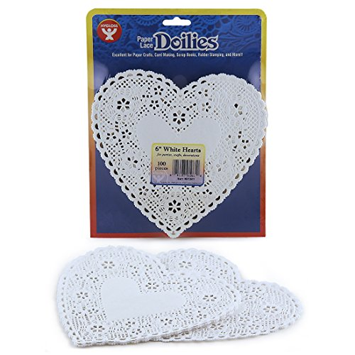 Hygloss Products Heart Paper Doilies - 6 Inch White Lace Doily for Decorations, Crafts, Parties, 100 Pack