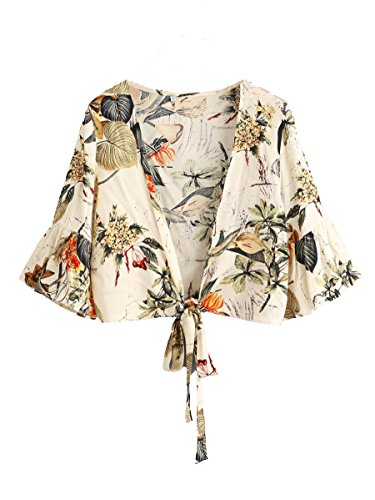 Floerns Women's Summer Printed V Neck Bow Tie Crop Top Blouse Beige M