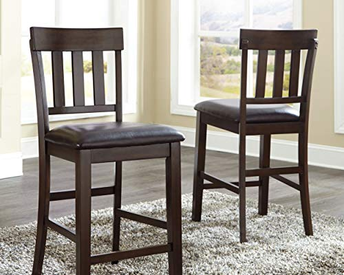 Ashley Furniture Signature Design – Haddigan Counter Barstool – Set of 2 – Vinyl Upholstered Seat – Dark Brown Finish