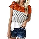 Bluestercool Women Short Sleeve Triple Color Block Stripe T-Shirt Casual Blouse (XL, Orange)