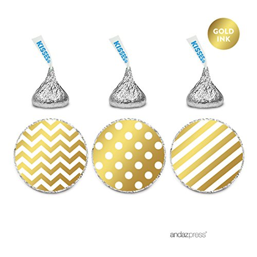 Andaz Press Chocolate Drop Labels Trio, Metallic Gold Ink, Patterns Polka Dots, Striped, Chevron, 216-Pack, Fits Hershey's Kisses, Not Gold Foil, Stationery, Decorations (Stationery Set Chevron)