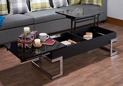 Major-Q Convertible Lift Top and Sliding Top Coffee Table in Gloss Black (9081855)