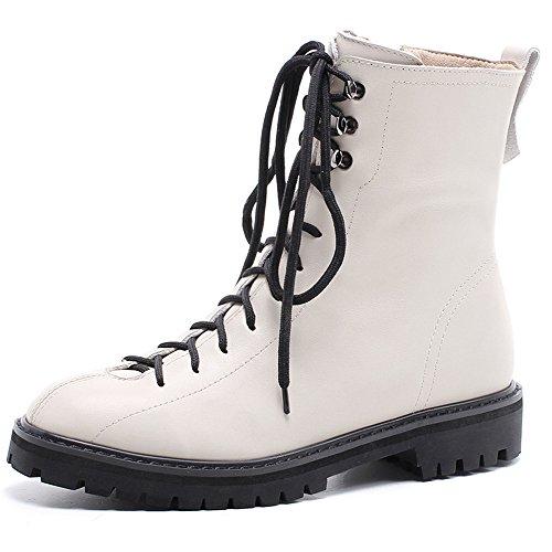Ni Sju Ekte Skinn Kvinners Rund Tå Flat Hæl Lace Up Stil Håndlagde Dress Ankel Boots Beige