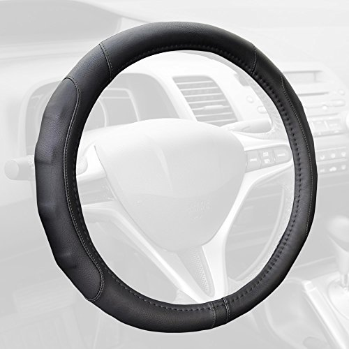 GripDrive Pro Synthetic Leather Auto Car Steering Wheel Cover Black Comfort Grip - Small 13.5 to 14.5 -