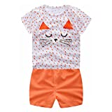 squarex 0-3Years Baby Outfits, Boys Girls Cartoon Tops Shirt+Pants Clothes Set (12Months, Orange Cat)