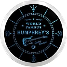 ncpf1599-b HUMPHREY'S Famous Guitar Lounge Beer Pub LED Neon Sign Wall Clock