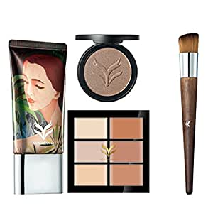 Tradico® Beauty Comestic Kit Concealer Palette+Powder Liquid+Blender Puff+Brush