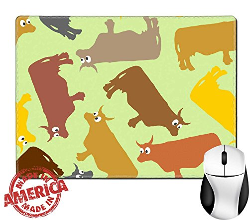 """Luxlady Natural Rubber Mouse Pad/Mat with Stitched Edges 9.8"""" x 7.9"""" ID: 41197353 Cow seamless pattern Crazy cow with big eyes Pets Vector background"""