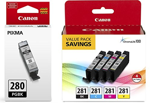 Canon CLI-281 BKCMY 4-Color Ink Tank Value Pack (2091C005) + Canon PGI-280 Pigment Black Ink Tank -