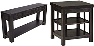 Signature Design by Ashley - Gavelston Console Table, Rubbed Black Finish & Gavelston Square End Table Rubbed Black