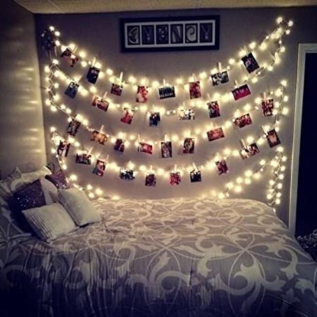 20 LED Photos Clips String Lights (10ft. Warm White) AOSTAR Battery  Operated Fairy String Lights for bedroom Hanging Photos, Cards and Artworks