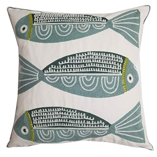 Orange Elephant Square Home Decorative Embroidered Throw Pillow Cover Cushion Covers Living Room 18 x 18 inch. (Fish)