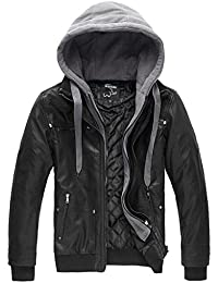 Mens Black Leather Jacket With Hood wwHt1u