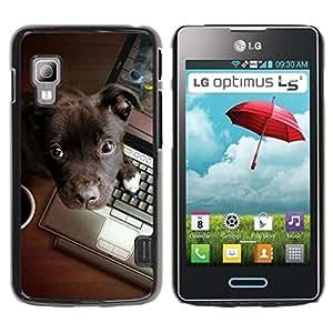 PC/Aluminum Funda Carcasa protectora para LG Optimus L5 II Dual E455 E460 Brown Labrador Retriever Puppy Work / JUSTGO PHONE PROTECTOR