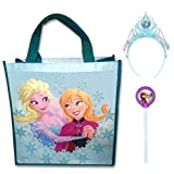 Frozen Reusable Halloween Candy Bag Tote and Glow Stick Wand with Elsa Glow Tiara Costume Accessory Bundle